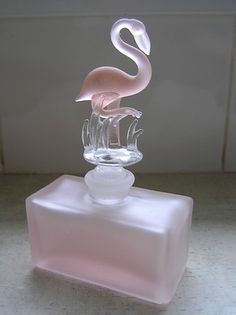 Pink Glass Perfume Bottle with Flamingo Glass Stopper ♥•♥•♥
