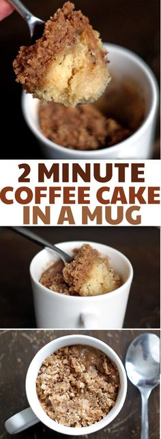 You're going to want to have this Coffee Cake In A Mug recipe tucked into your back pocket for the next time you get a sugar craving. It can be mixed up and cooked in just 2 minutes! We make it all the time. mug cake. Coffee cake mug cake Desserts Keto, Easy Desserts, Delicious Desserts, Dessert Recipes, Yummy Food, Quick Dessert, Desserts In A Mug, Tasty, Single Serving Desserts