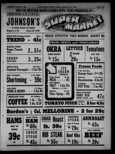 1960's grocery ad