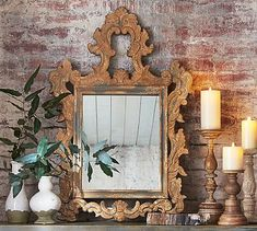 "Ornate Carved Wood Mirror 29"" wide x 1.5"" deep x 43.75"" high"