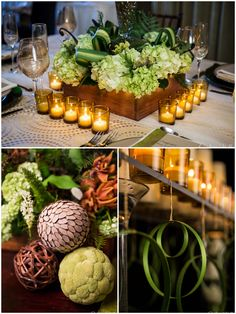 Mountain Sleek Wedding Tablescape! Green Tablescape  Stunning work by One Fine Day Events and Bellissima Floral Featured on Pizzazzerie