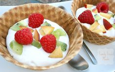 Why wait for dessert, these fruity waffle bowls are perfect for breakfast or snacks!
