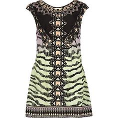 for a new way to work pastels try this light green multi coloured tribal print shift dress