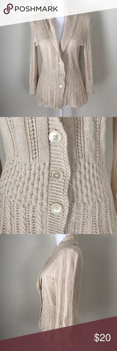 [Ralph Lauren] Beige medium knit silk cardigan (361) In excellent condition with no flaws. Bust measures 40 inches and length measures 24 inches. Made with a silk/linen blend. Lauren Ralph Lauren Sweaters Cardigans