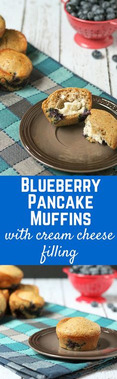 Blueberry Pancake Muffins with Cream Cheese Filling - the perfect breakfast or brunch recipe!