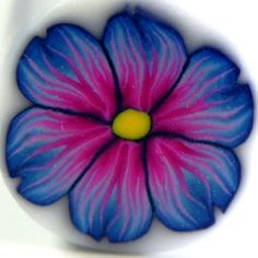 Blue and Pink Flower Polymer Clay Cane by LavaGifts on Etsy, $6.00