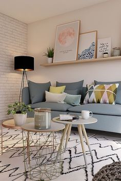 Modern Scandinavian decor in small living room. For more small living room ideas. Modern Scandinavian decor in small living room. For more small living room ideas check out these Small Living Rooms with. Small Living Room Layout, Living Room Colors, Small Living Rooms, Small Living Room Designs, Shelf Ideas For Living Room, Living Room Layouts, Pastel Living Room, Tiny Living, Living Pequeños