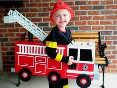 Fireman costume, DIY costumes, disfraces - Carnival and halloween - Disfraz DIY de bombero Homemade Toddler Costumes, Homemade Halloween Costumes, Toddler Halloween Costumes, Halloween Kostüm, Baby Costumes, Holidays Halloween, Maquillage Halloween, Fire Trucks, Holiday Fun