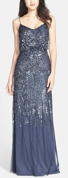 Midnight blue sparkle gown by Adrianna Papell. A little would be needed, but this pretty