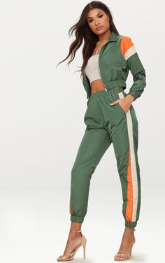 The Black Stripe Shell Suit Jogger. Head online and shop this season's range of trousers at PrettyLittleThing. Express delivery available. Two Piece Dress, Two Piece Outfit, Sporty Outfits, Cute Outfits, Suit Fashion, Fashion Outfits, Sporty Fashion, Sporty Chic, Fashion Trends