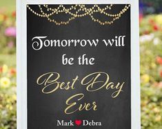 Looking for perfect Rehearsal Dinner Wedding Sign for your Wedding  This listing is for a PRINTABLE large wedding sign for you to print on your own.  Interested in more wedding decoration, please visit https://www.etsy.com/shop/chalkboarddesign?section_id=14429831&ref=shopsection_leftnav_7  Need it in Silver glitter, please have a look at https://www.etsy.com/listing/235740746/printable-welcome-wedding-sign-diy?ref=shop_home_acti...