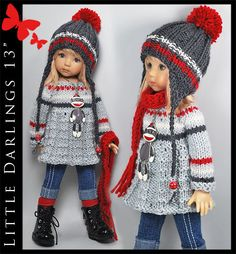 """Gray & Red Monkey Outfit for Little Darlings Effner 13"""" by Maggie & Kate Create"""