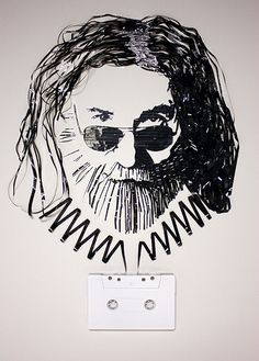 Ghost in the Machine- Jerry Garcia    Gift for my cousin in St. Louis... cassette tape on canvas, 2009