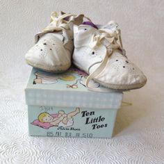 Baby Shoes Infant Vintage Shoe Box Soft White by stonebridgeworks