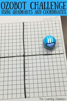 Ozobot challenge using quadrants and coordinates.  Students program ozobots using ozoblockly.  Includes freebie with checklist.