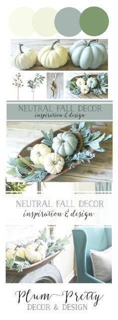 Neutral Fall Decor Inspiration and Design- Plum Pretty Shares their Fall Decor Plans and Gives a DIY Tutorial on a Fall Dough Bowl Centerpiece.
