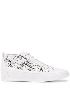 White calf leather Flowery sneakers from Högl featuring a round toe, a lace-up front fastening, a logo patch at the tongue, a mesh upper, a low wedge heel and a flat rubber sole. Low Wedges, Court Shoes, Calf Leather, Wedge Heels, Calves, Women Wear, Lace Up, Sneakers, Fashion Design