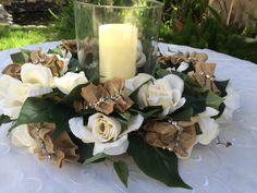 Rustic Romance Wedding Reception Centerpiece by FloralsAndSpice