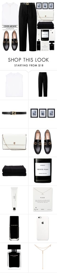 """""""Black White Gold"""" by theapapa ❤ liked on Polyvore featuring Helmut Lang, Acne Studios, Gucci, Mikasa, Valextra, Home Source International, Byredo, Dogeared, Narciso Rodriguez and Tacori"""