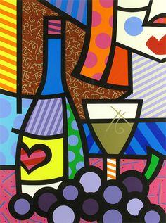 Wine Art - Romero Britto, Taste of Love, Serigraph on Paper, Limited Edition Pintura Graffiti, Graffiti Painting, Arte Pop, Tableau Pop Art, Arte Country, Wine Art, Picasso, Painting & Drawing, Bunt