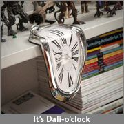 Surreal Salvador Dali Clock. Not just decoration- keeps accurate time! I don't know why, but I think this is SO cool! $14.99 on thinkgeek.com