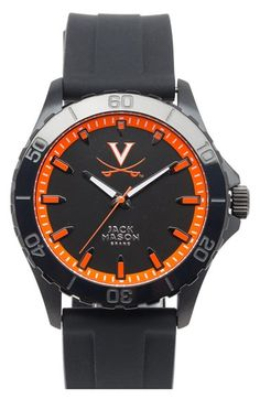 Jack Mason Brand 'University of Virginia Cavaliers' Blackout Silicone Strap Watch, 44mm