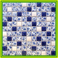 Blue and white porcelain tile kitchen backsplashes square glazed ceramic mosaic bathroom wall tiles - Modern