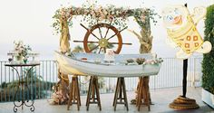 A wedding dessert bar in a boat?! Now that's nautical! Gorgeous, but practical?