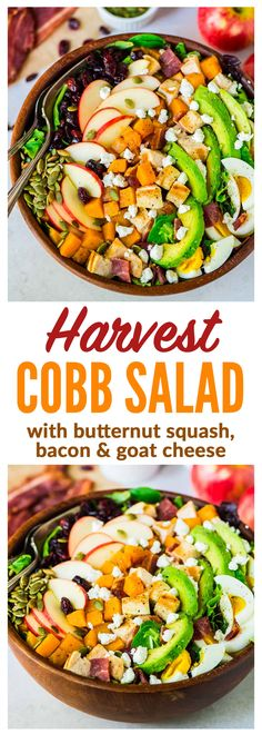 A fall twist on classic Cobb salad with butternut squash, bacon, apples, and goat cheese. Chicken and avocado make it healthy and filling. Perfect as a main dish salad or for Thank (Chicken And Apple Recipes) Avocado Recipes, Easy Salads, Healthy Salad Recipes, Healthy Dinners, Harvest Salad, Chicken And Butternut Squash, Main Dish Salads, Main Dishes, Fall Recipes