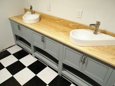 Image result for using wooden worktop in a bathroom