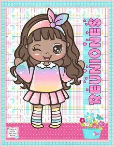 School Clipart, How To Speak Spanish, Printable Paper, Cute Drawings, Cute Cartoon, Painted Rocks, Cute Girls, Cute Pictures, Decoupage