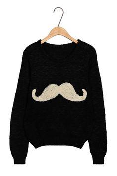 Cartoon Moustache Pattern Sweater
