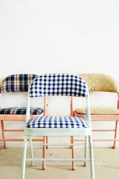 Transform your ugly folding chairs using spray paint and fabric   MyFabulessLife.com