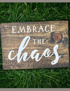 There's lots of love mixed in with the chaos of life with kids! Embrace The Chaos Wood Sign - Home Decor, Farmhouse Sign, Rustic Sign, Rustic Farmhouse, Farmhouse Fixer Upper Sign, Farmhouse Decor, Rustic Decor, Family Room, Living Room Decor, Playroom Decor, Entryway Sign, Entryway Decor, Funny Sign, Family Sign, Housewarming Gift Idea #afflink