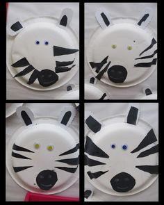 zebra craft project for children, zoo art project on paper plate, jungle theme crafts.