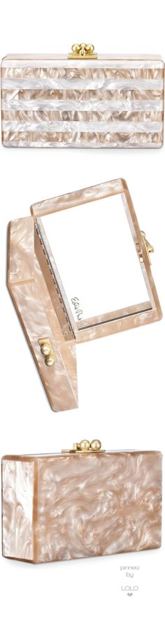 Edie Parker Jean Striped Box Clutch, Nude/White | LOLO❤︎