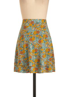 Woodland It Be Nice Skirt by Tulle Clothing - Mid-length, Multi, Yellow, Green, Blue, Brown, Tiered, Casual, Orange, Floral, Vintage Inspired, 70s, Spring