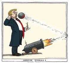 Trump Trade War: 'Show them!' ricochet 4/5/18 - Joef Bertrams ©Cagle Cartoons.com #Trumpocalypse