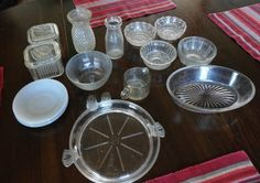 17 Piece Depression Glass & Fire King Lot Glassware, Oatmeal Bowls, Serving Dish