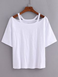 Cutout Loose-Fit White T-shirt Mobile Site