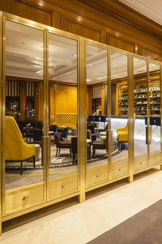 Gold mirror cabinets