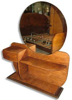 Art Deco Dressing Table / Beautiful and original 1930's French Art deco walnut dressing table.