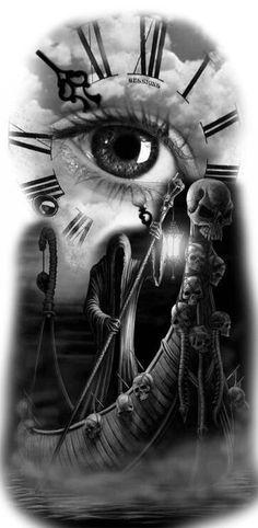 hendmowdy - 0 results for tattoos Clock Tattoo Design, Tattoo Design Drawings, Skull Tattoo Design, Tattoo Sleeve Designs, Tattoo Sketches, La Santa Muerte Tattoo, Christus Tattoo, Photoshop Tattoo, Evvi Art