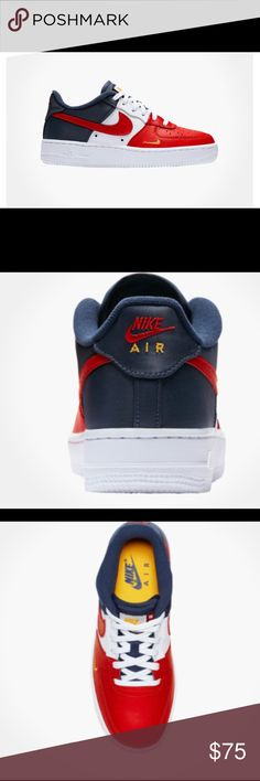 Durable Nike Air Force 1 Low Mini Swoosh Barcelona Deep Royal Blue University Gold 823511 404 Men's Casual Shoes Sneakers