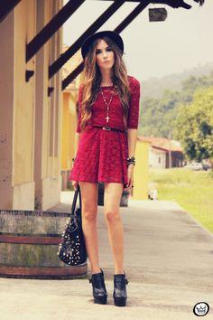FashionCoolture - 22/02/2013 look du jour SheInside dress lace burgundy (1)
