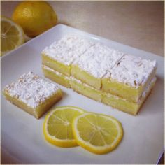 Instructions 1.350 degrees F 2.blend together 1 c softened butter, 2 cups flour and ½ cup sugar. Press into the bottom of an ungreased 9×13 inch pan. 3.Bake for 15 to 20 minutes, or until firm and golden. whisk together the remaining 1½ c sugar, ¼ c flour. Whisk in the 4eggs, 2/3c lemon juice. Pour over the baked crust. 4.Bake additional 20 minutes