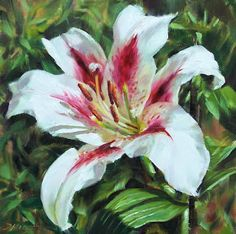 "Daily Paintworks - ""Lily Impression"" - Original Fine Art for Sale - © Donna Munsch Simple Oil Painting, Lily Painting, Still Life Oil Painting, Oil Painting For Sale, Oil Painting Flowers, Acrylic Painting Techniques, Fine Art Auctions, Impressionist Paintings, High Art"