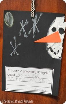 There's SNOW Time Like Winter! We did this little Snowmen at Night writing activity last year and the year before that.  This is one of those writing craftivities I haven't tired of yet.  I love their sweet responses and adore how different and unique each little snowman turns out.  This little craftivity is not my original idea.  You can find the original HERE at The Elementary Art Room.