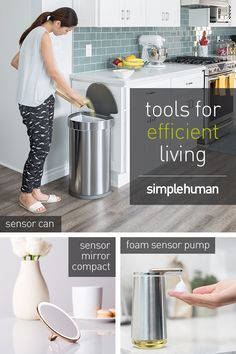 simplehuman designs everyday tools to help you be more efficient at home. Shop our complete line of trash cans, sensor pumps, shower caddies and more. Mirrors That Light Up, Kitchen Design, Kitchen Decor, Home Decoracion, Ikea Storage, Home Hacks, My New Room, Smart Home, Kitchen Organization