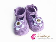 Crochet marine style summer booties with lilac.